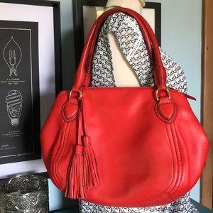 Red coral J. Crew Peyton satchel